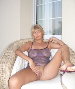 Blonde wife spreading legs and showing..