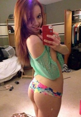 Sexy college redhead babe with hot..