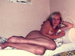 Pure mature blonde laying nude with..