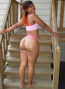 Sweet ebony showing her big ass in..