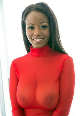 Lovely ebony big boobs in this photo.