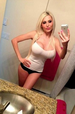 Blonde bimbo selfshot her big hot..