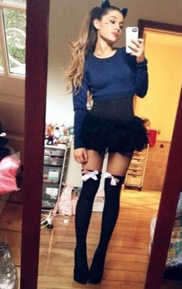 Selfie by skinny teen in hot stockings..
